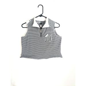 Black/White Striped/Color Blocked Cropped Tank